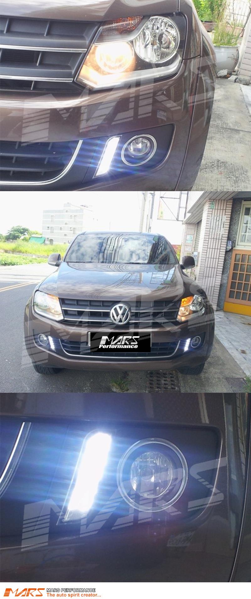 VW 2009-2014 AMAROK fog lamp lights LED DRL Daytime running light chrome rim