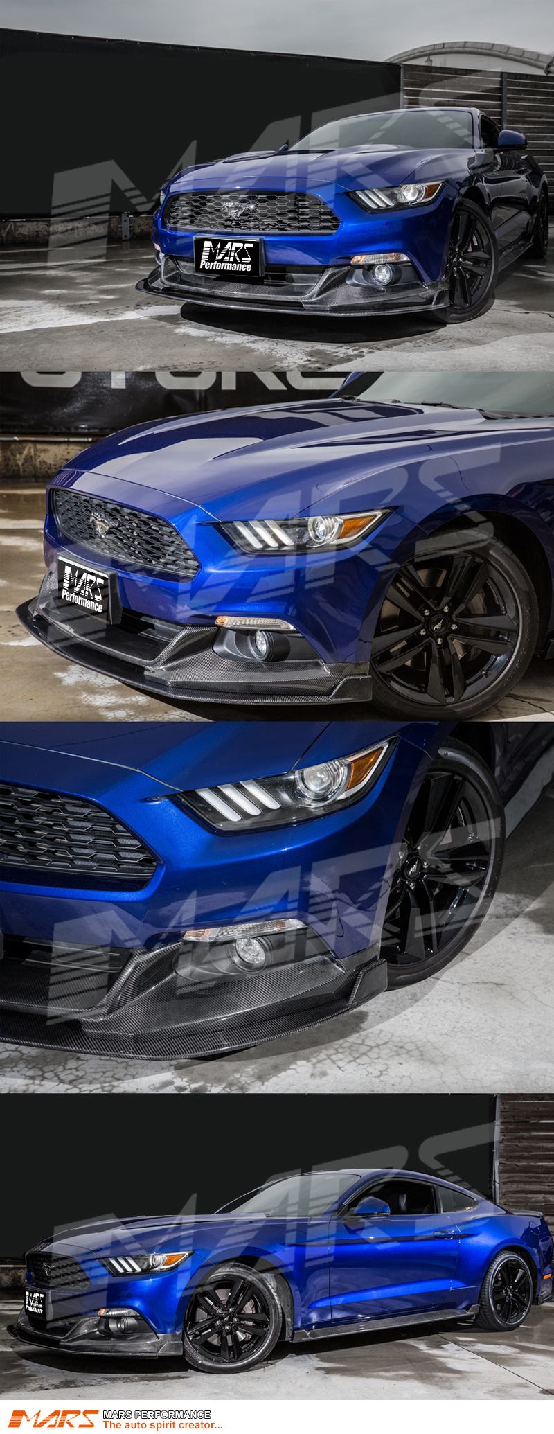 2017 Ford Mustang For Sale >> MARS Carbon Fibre Front Bumper Bar Spoiler Cover & Bottom