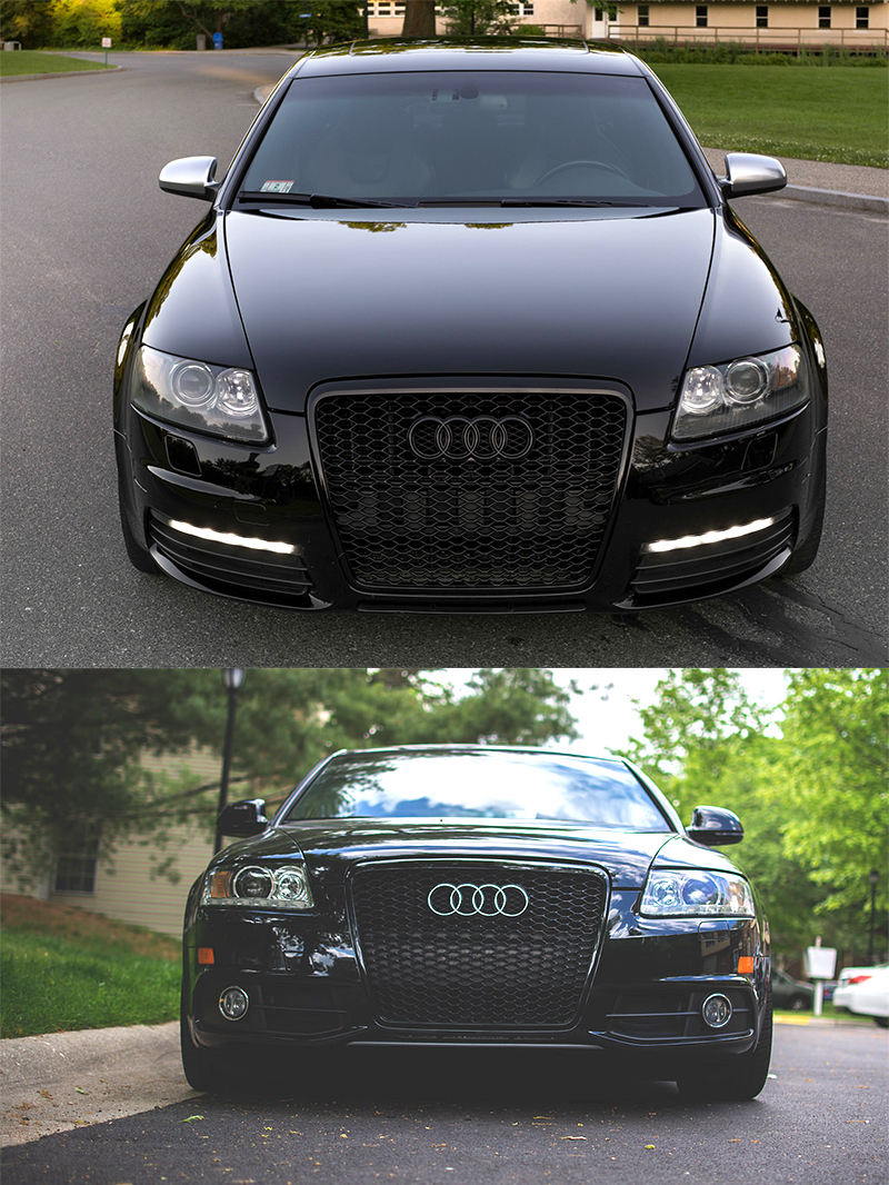 Gloss Black Honeycomb Rs Style Front Bumper Bar Grille For