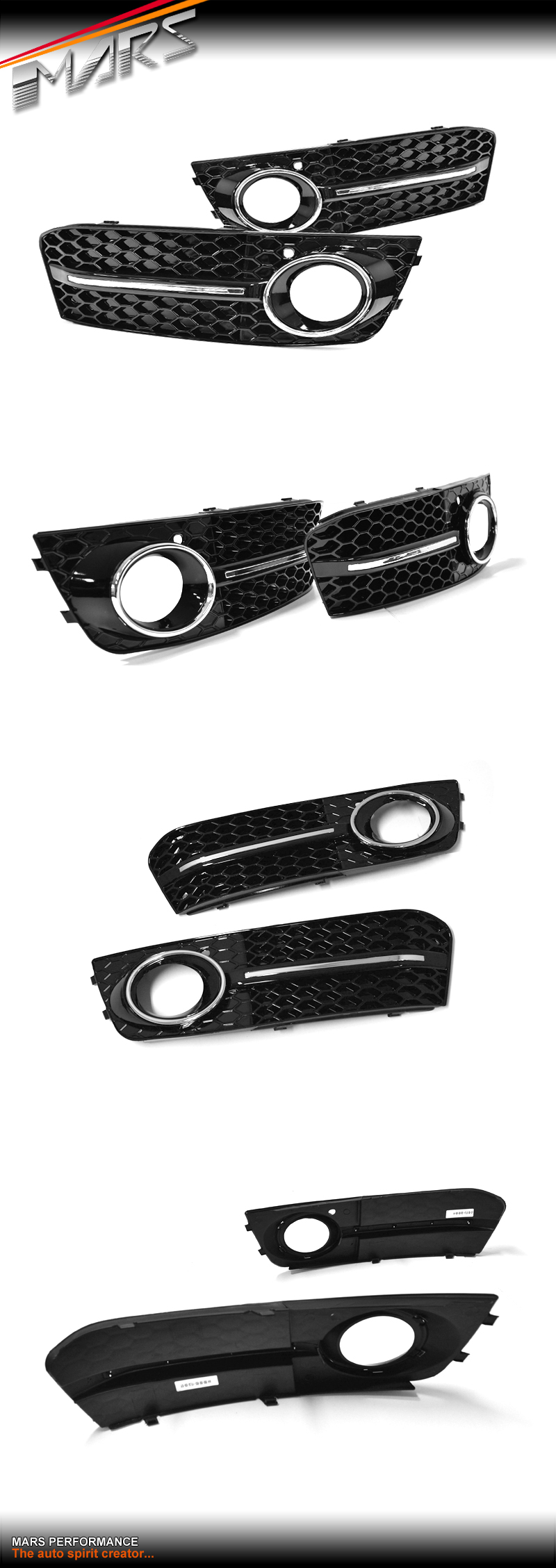 rs4 rs style front bumper bar fog lights cover grille