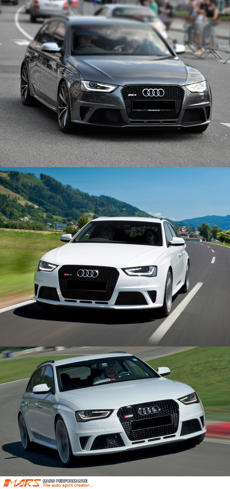 Gloss Black Honeycomb Rs4 Style Front Bumper Bar Grille