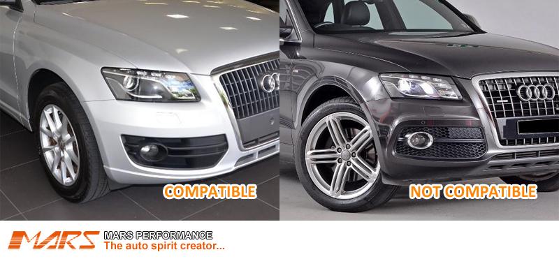 Chrome Black RS-Q5 Style Front Bumper Bar Fog Lights Cover Grille