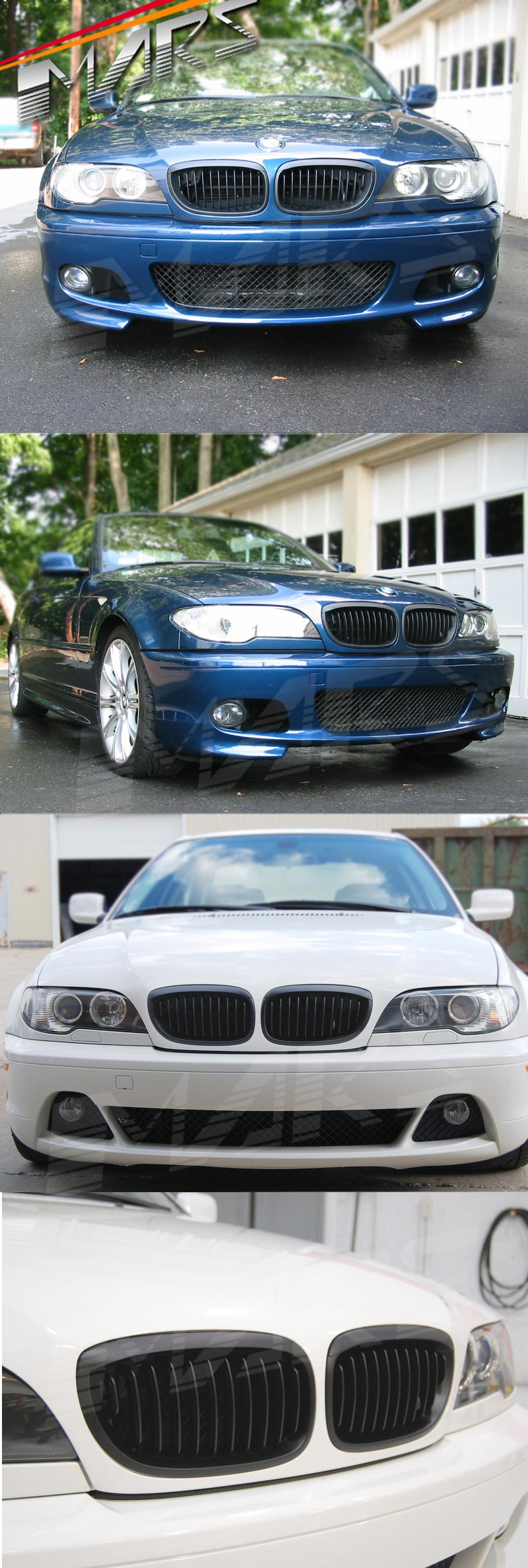 Xxiaohh 2pcs Car Gloss Black Car Front Kidney Racing Grille Grill For Bmw E46 Lci 325i 4d Facelift 2002 2003 2004 2005 Car Styling Body Fittings Car Parts