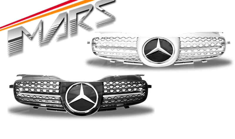 silver amg style bumper bar grille grill for mercedes