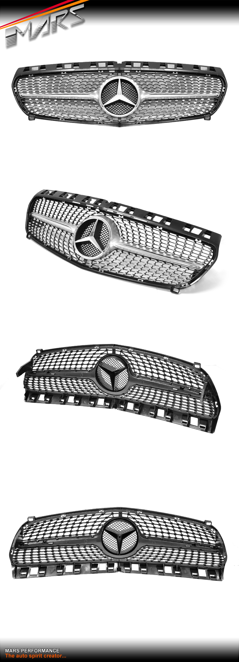 Chrome silver diamond star a250 style radiator grille for for Silver star mercedes benz parts