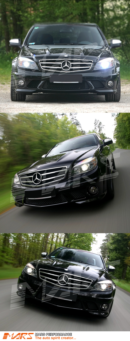 chrome black c63 amg style front grille grill for mercedes. Black Bedroom Furniture Sets. Home Design Ideas