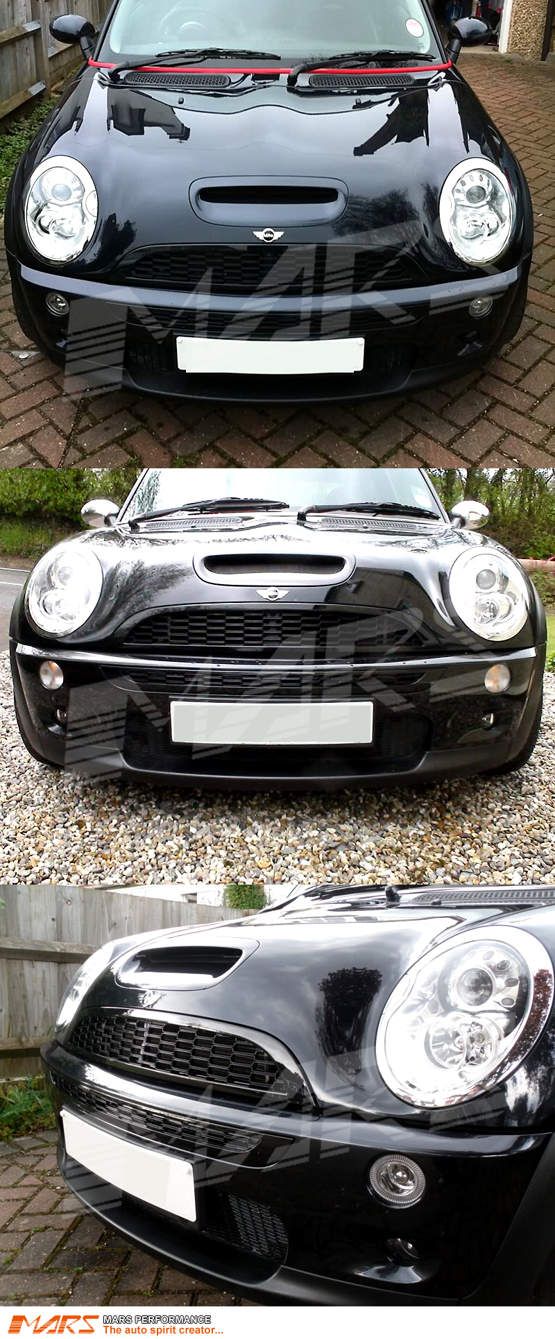 black jcw style gloss black front grill for mini cooper cooper s 01 06 r50 r52 r53 mars. Black Bedroom Furniture Sets. Home Design Ideas