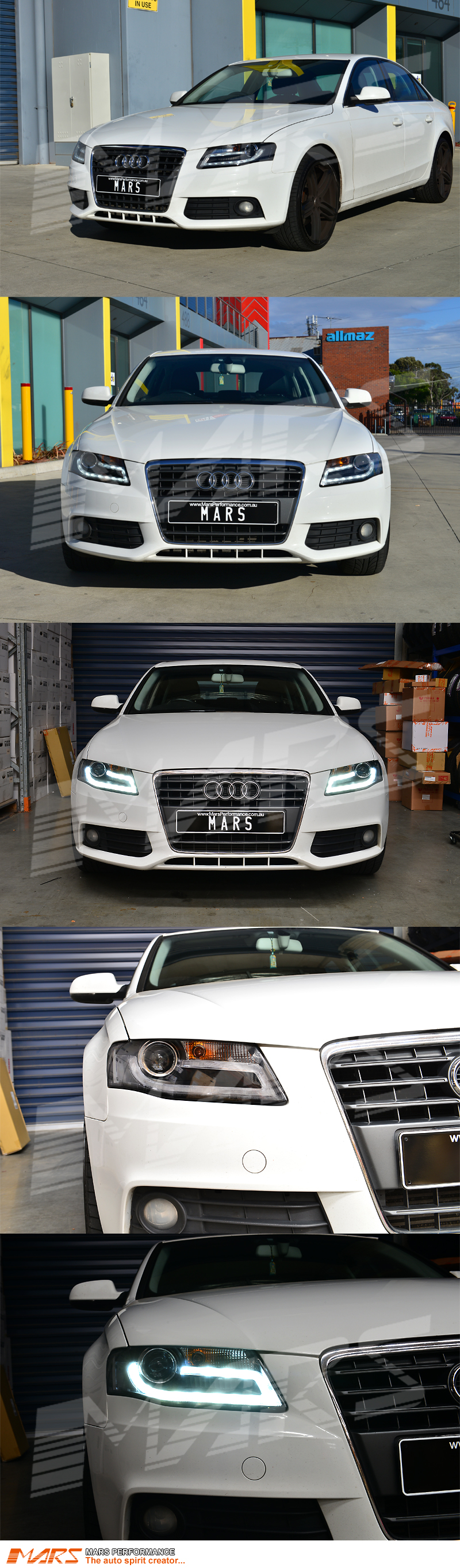 Real Drl Dual Beam Projector Head Lights For Audi A4 S4 B8 09 12