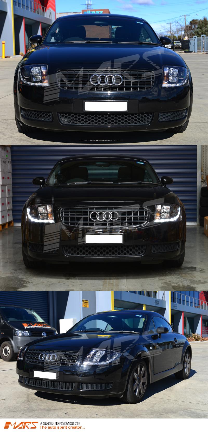 Original 8n Headlight : Audi tt black day time drl led projector head lights