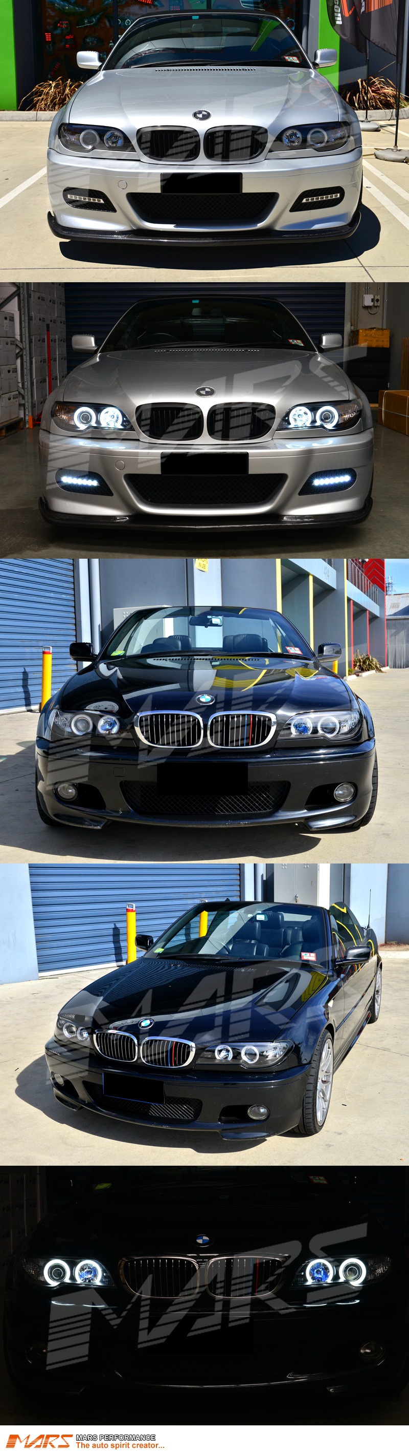 Black Ccfl Angel Eyes Projector Head Lights For Bmw 3 Series E46 2d Lci Coupe Convertible 03 05 Factory Hid Model Mars Performance