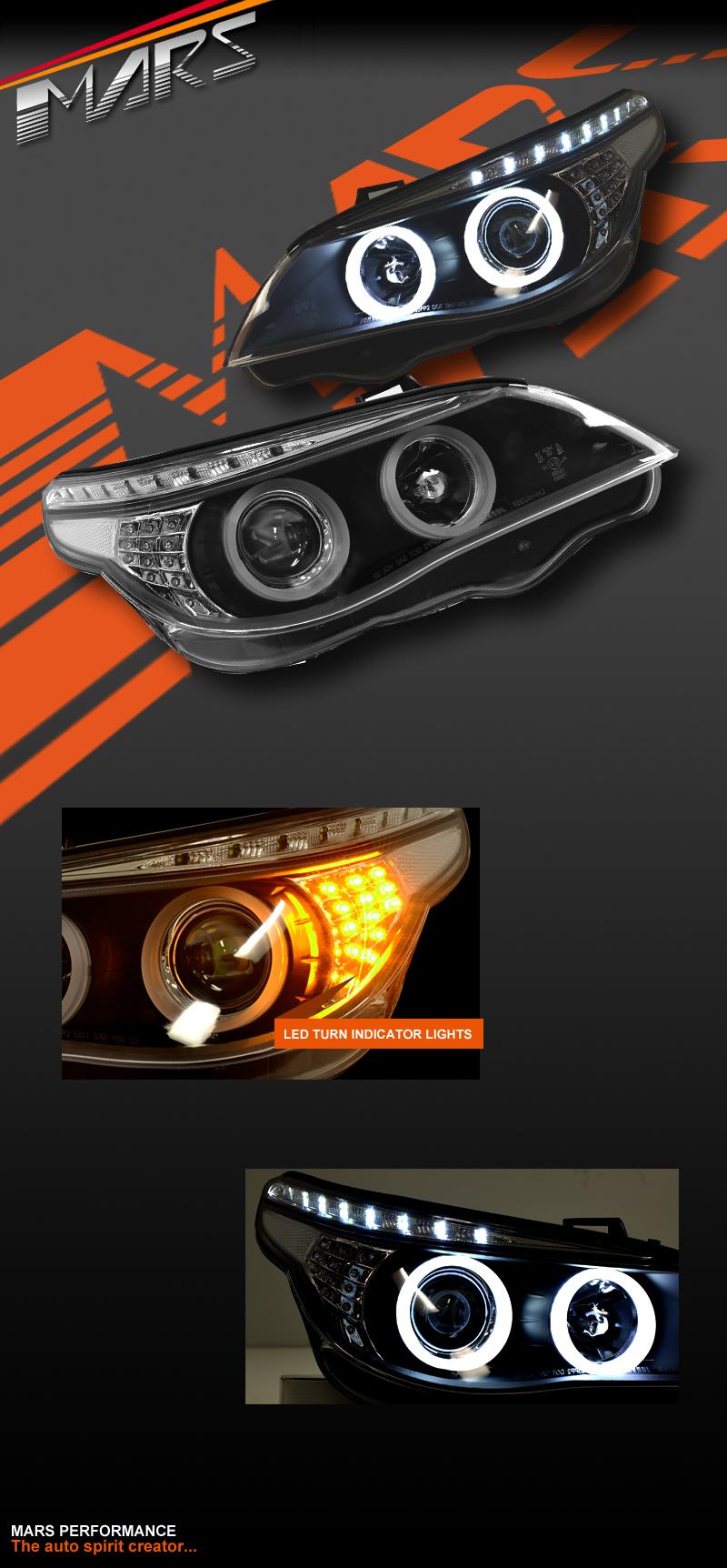 Black 3d Led Angel Eyes Projector Head Lights For Bmw 5