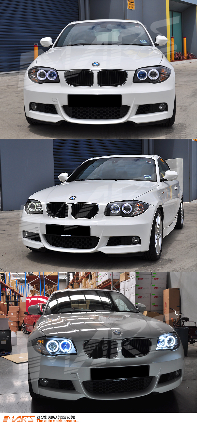 Black Ccfl Angel Eyes Projector Head Lights For Bmw E81