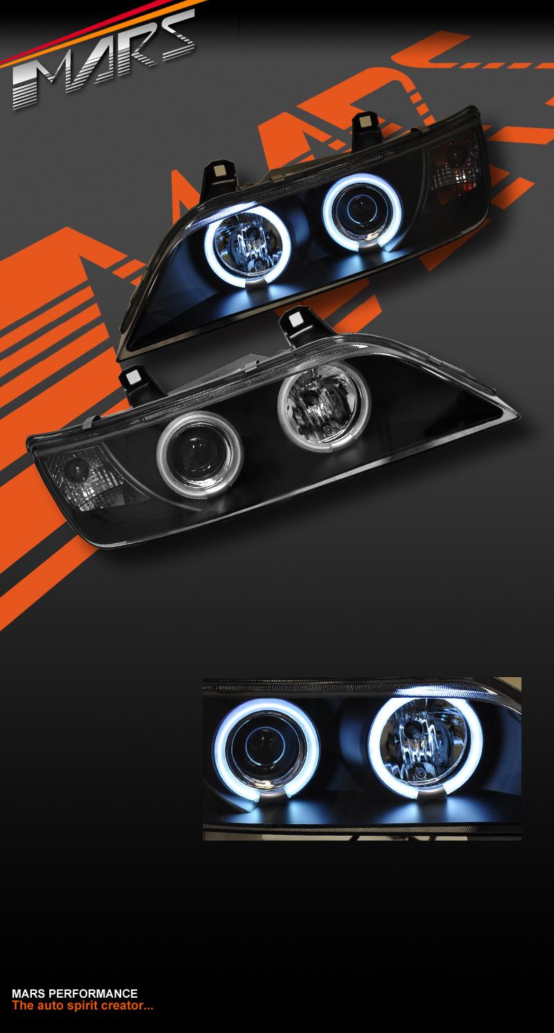 Black Ccfl Angel Eyes Projector Headlight Head Lights For