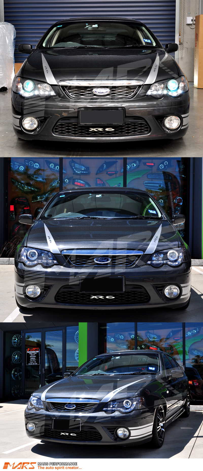 Black Drl Led Head Lights For Ford Falcon Fpv Ba Bf Sedan Ute Xr6 Wiring Diagram These Have Been Specially Designed And Made As Close To Match Factory Standard They Will Replace Your Original Directly