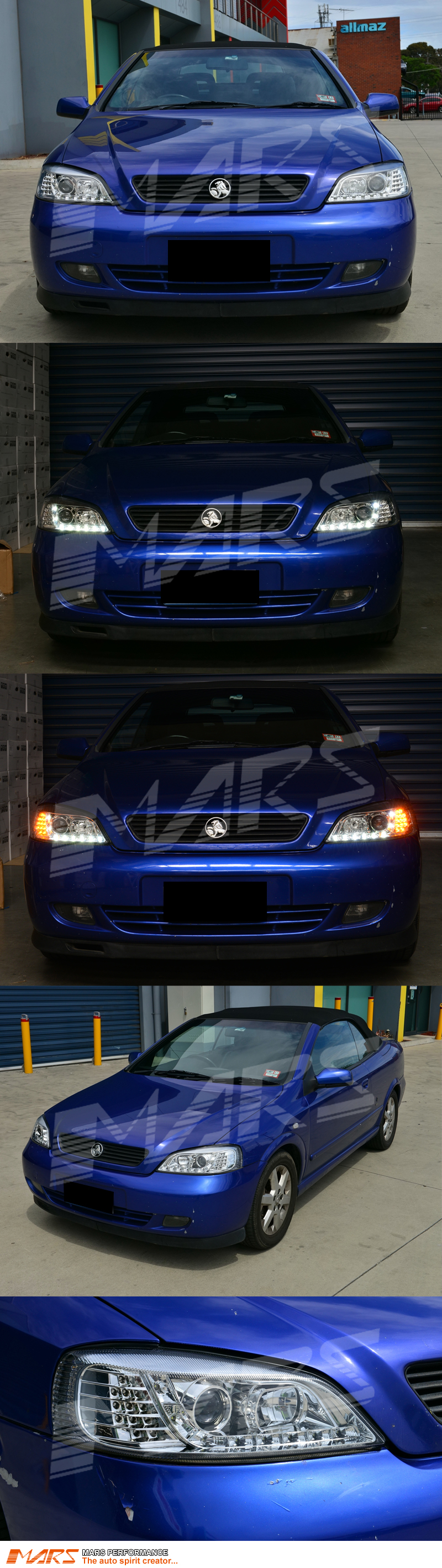 crystal clear drl led projector head lights with led