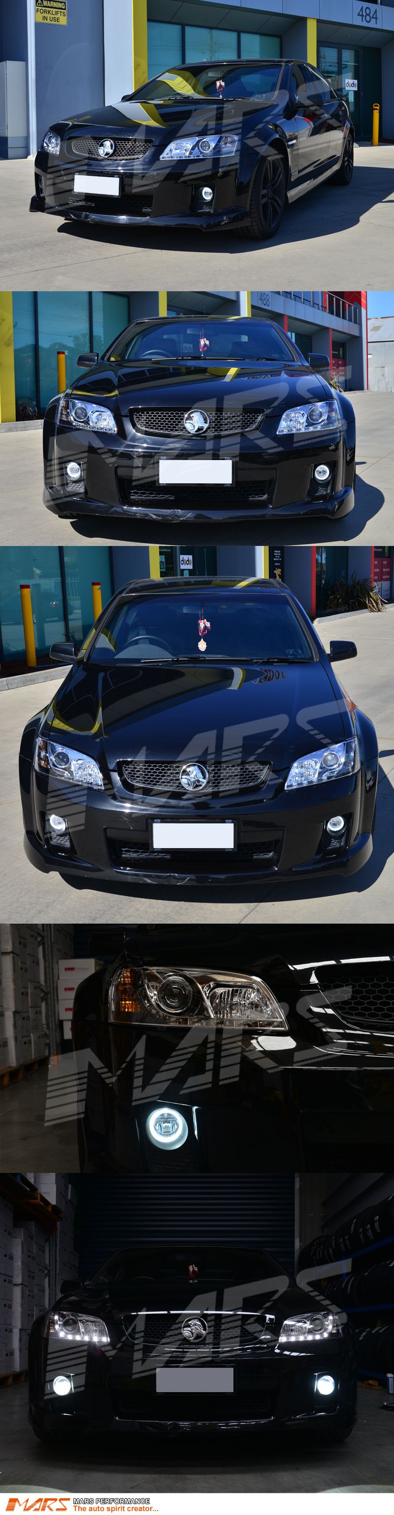 crystal drl led projector head lights for holden commodore