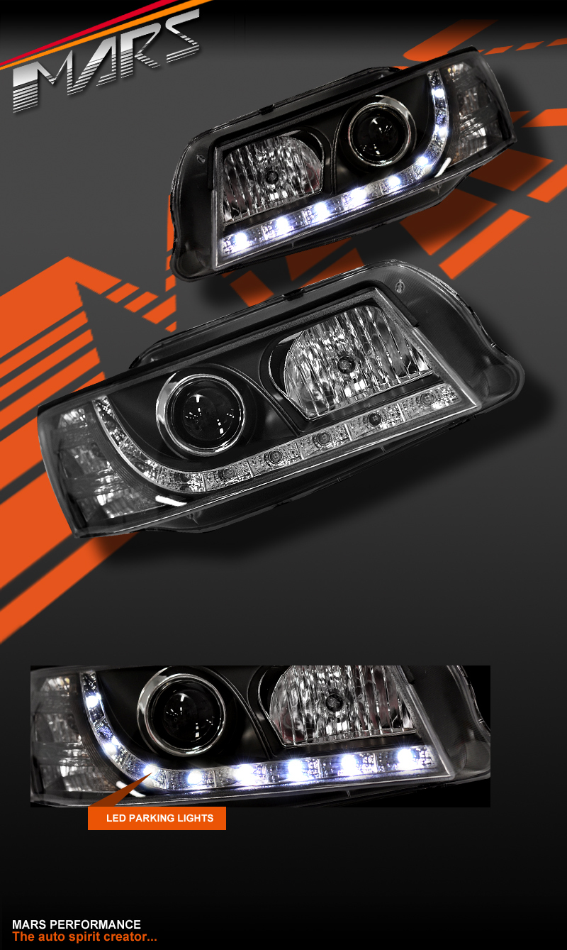 Black DRL LED Projector Head Lights for Holden Commodore ...