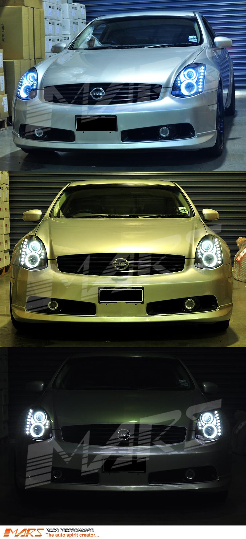 Cts V Sedan >> Black LED DRL & CCFL Angel Eyes Projector Head Lights for ...
