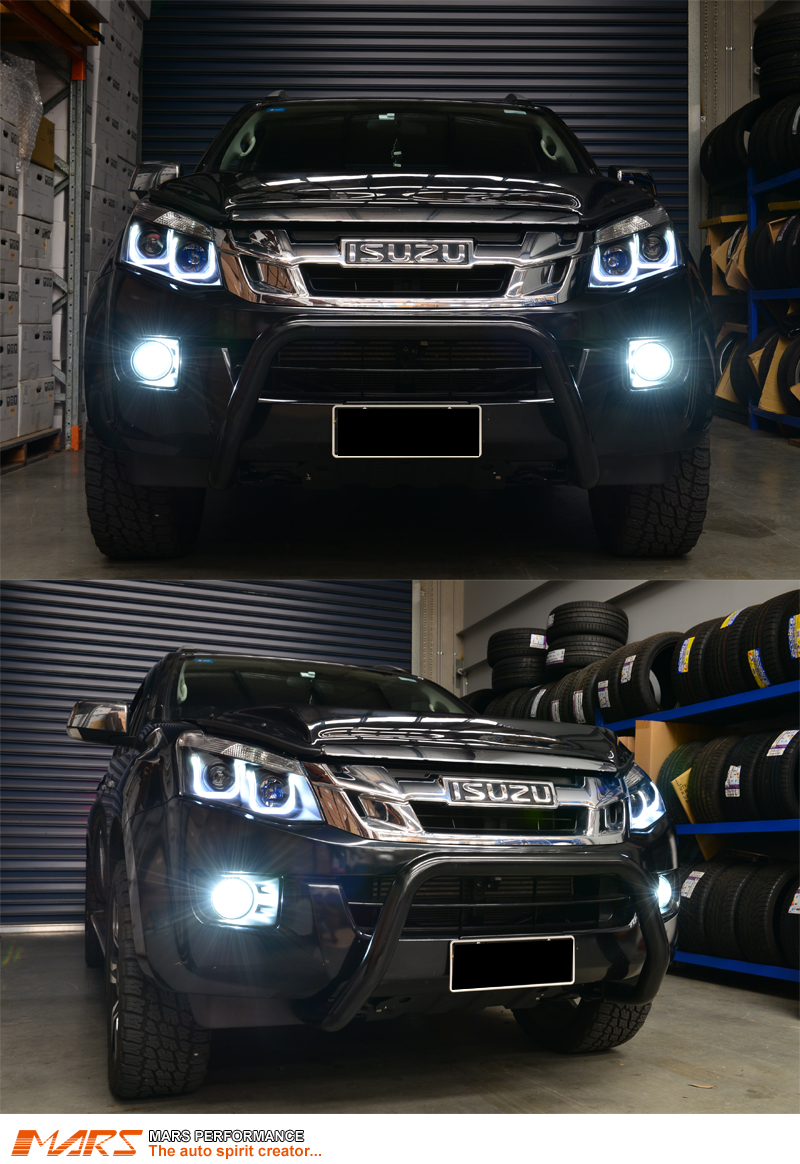 Black 3d Led Stripe Amp Projector Head Lights For Isuzu D