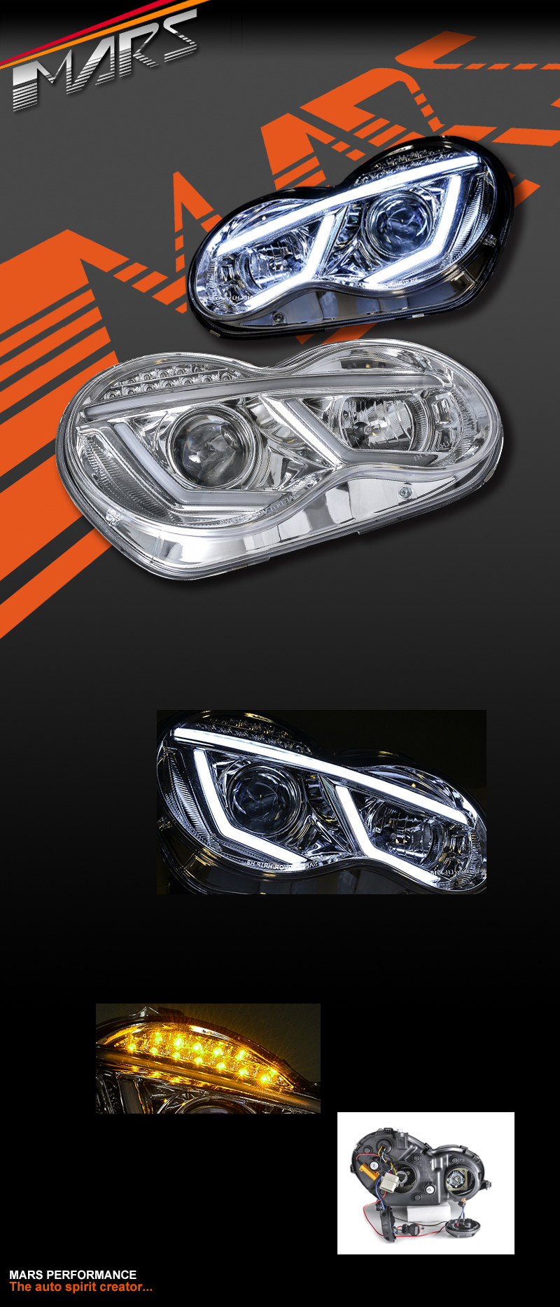 Crystal Clear DRL Projector Head Lights with LED Indicators