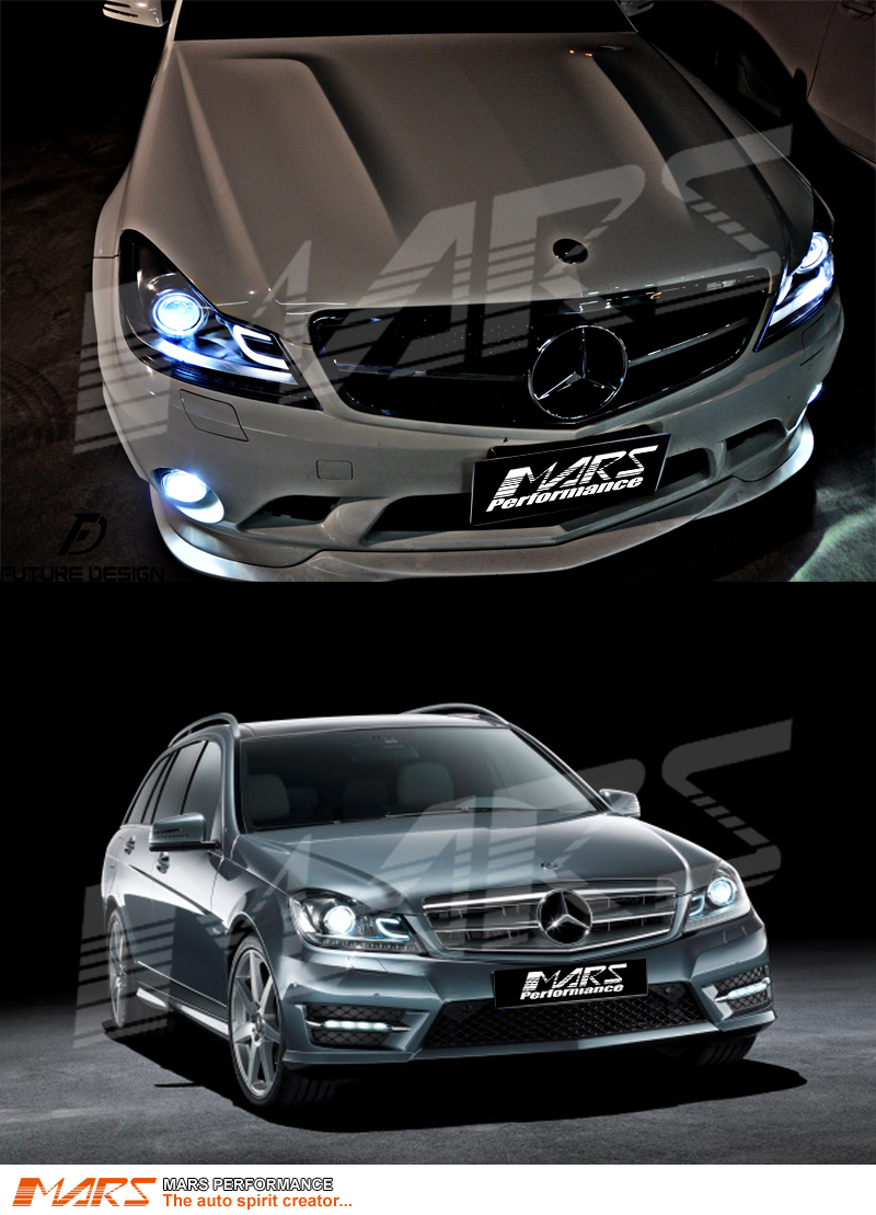 Amg C63 Style Projector Drl Head Lights For Mercede Benz C