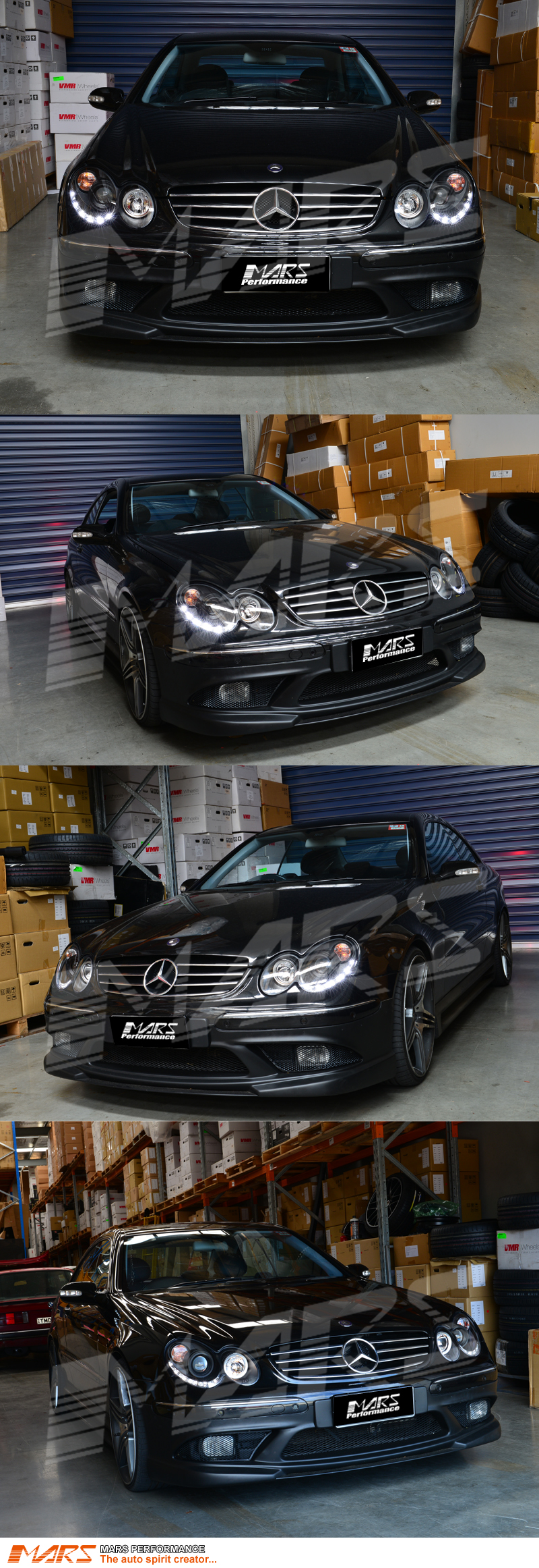 Black Day-Time LED DRL Projector Head Lights for Mercede