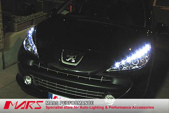 black day time led drl projector head lights for peugeot