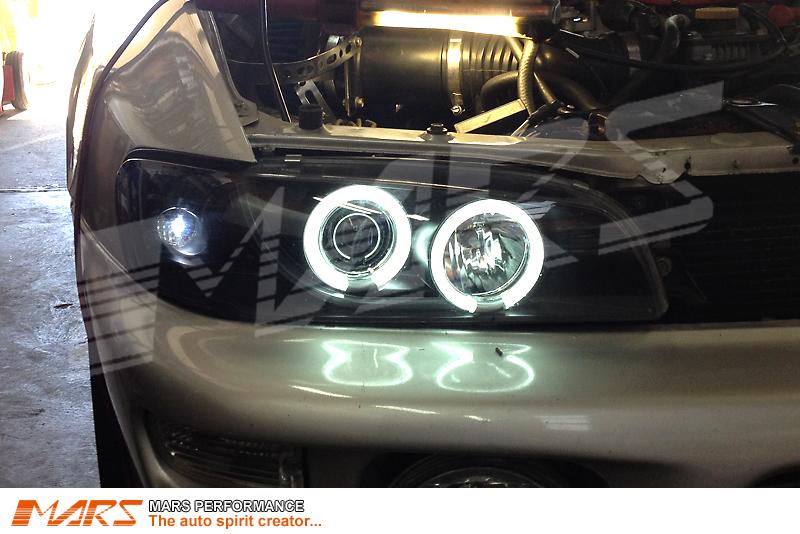 Black Ccfl Angel Eyes Projector Head Lights For Subaru