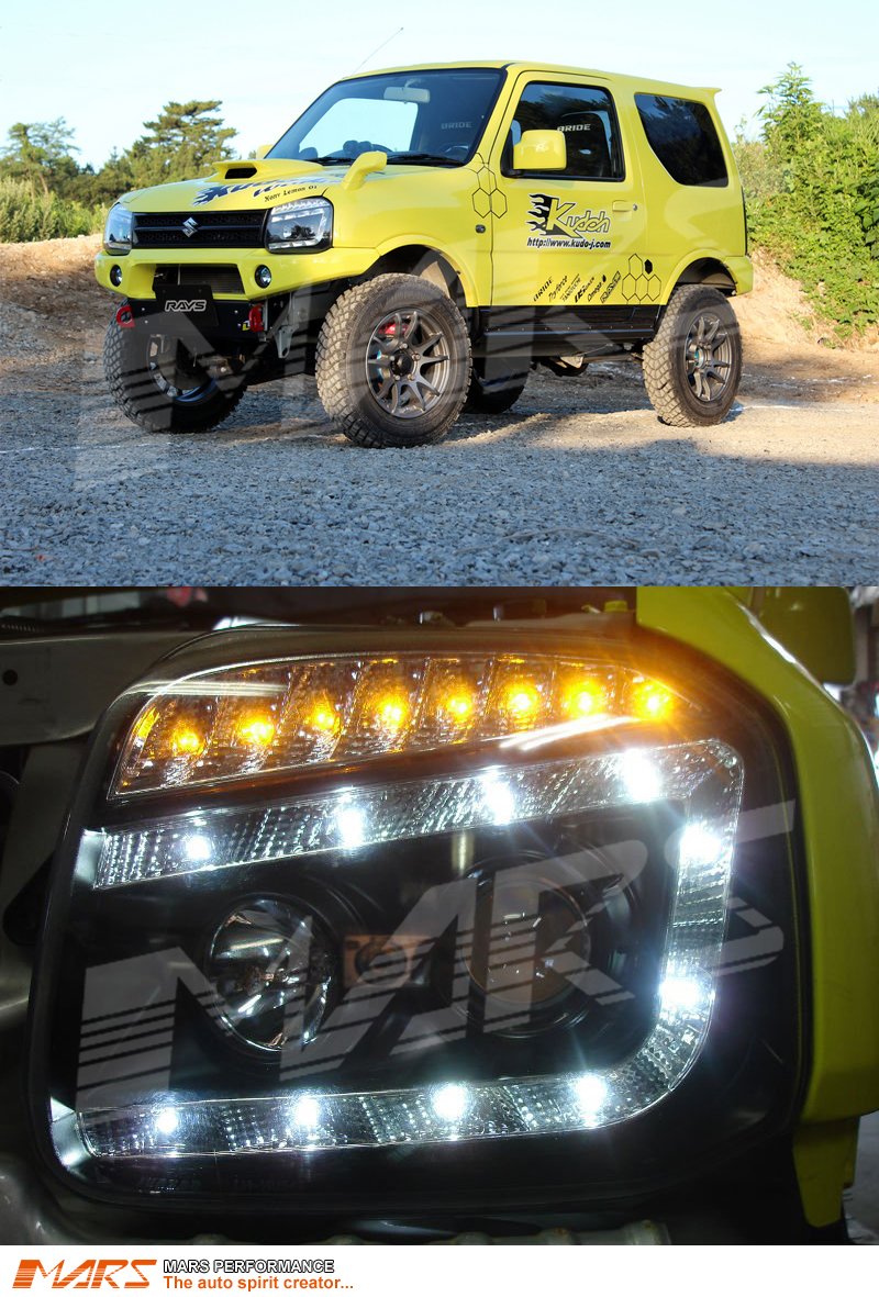 Black Drl Led Projector Head Lights With Led Indicators
