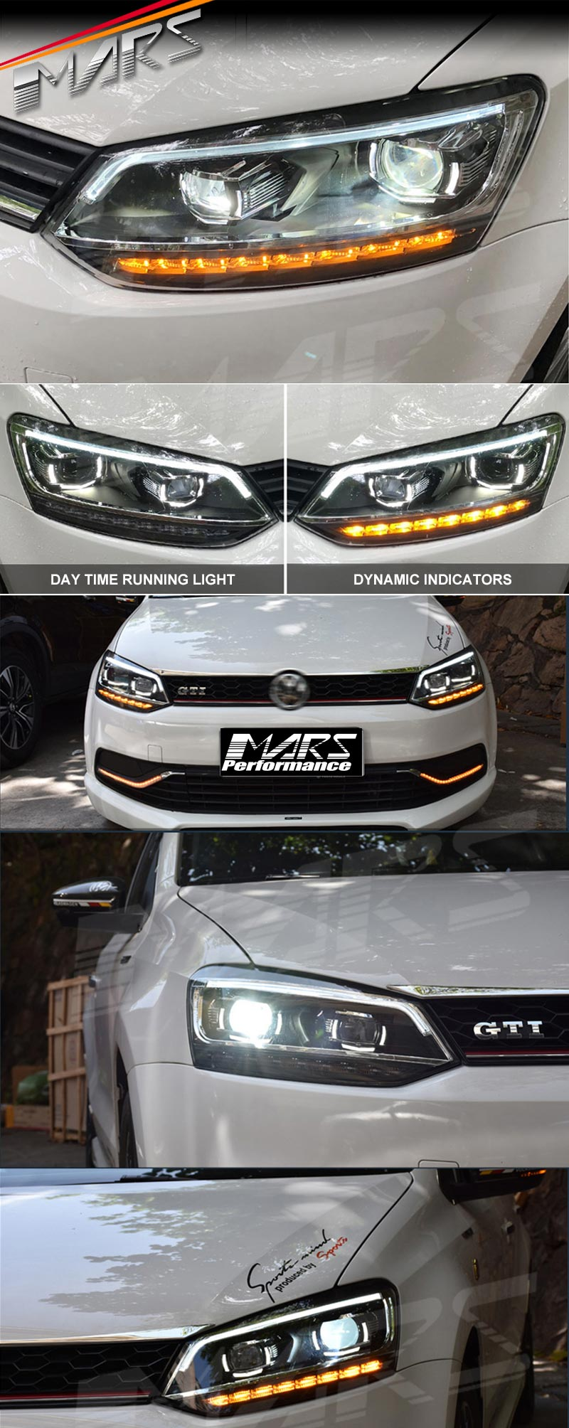 Black Led Drl Projector Head Lights Sequential Indicators For Vw Polo 6r 10 16 Ebay