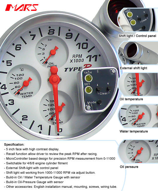 5004R D type r 5 inch 5004r water & oil temperature & oil pressure 4 in 1 type r tachometer wiring diagram at alyssarenee.co