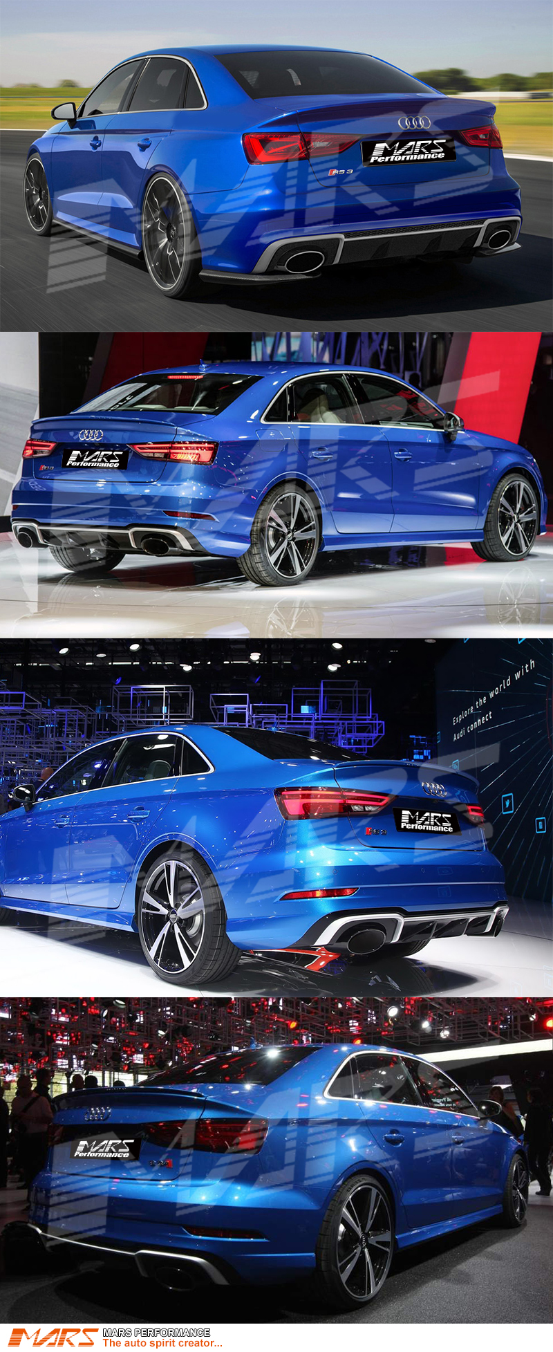 Rs3 Style Rear Bumper Diffuser With Tips For Audi A3 8v