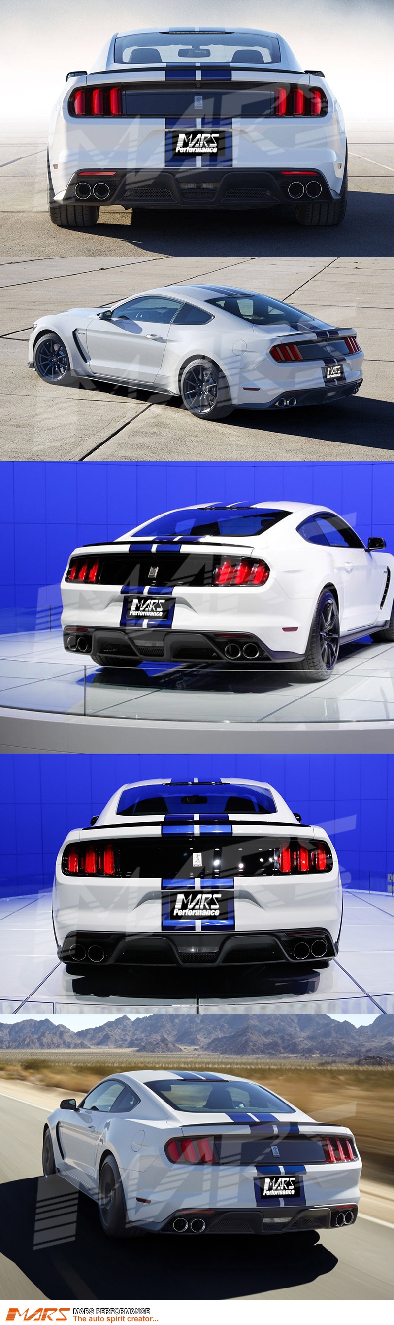 shelby gt350 style rear bumper bar diffuser with exhaust. Black Bedroom Furniture Sets. Home Design Ideas