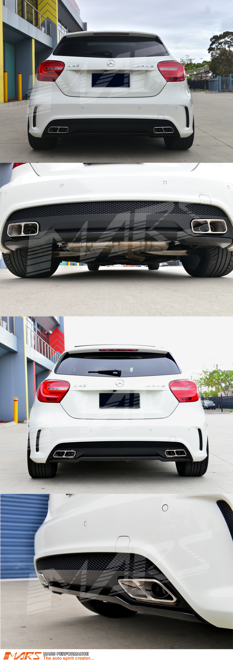 amg a45 style rear bumper bar diffuser with exhaust tips. Black Bedroom Furniture Sets. Home Design Ideas