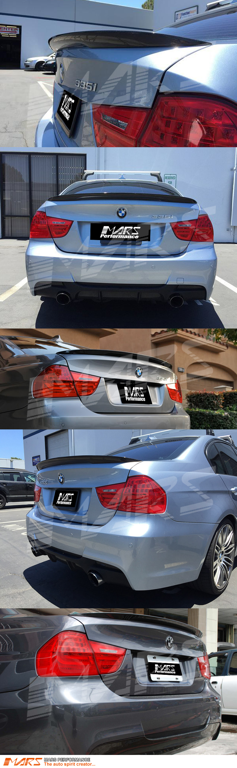 Gloss Black M Performance Style ABS Plastic Rear Trunk Lip