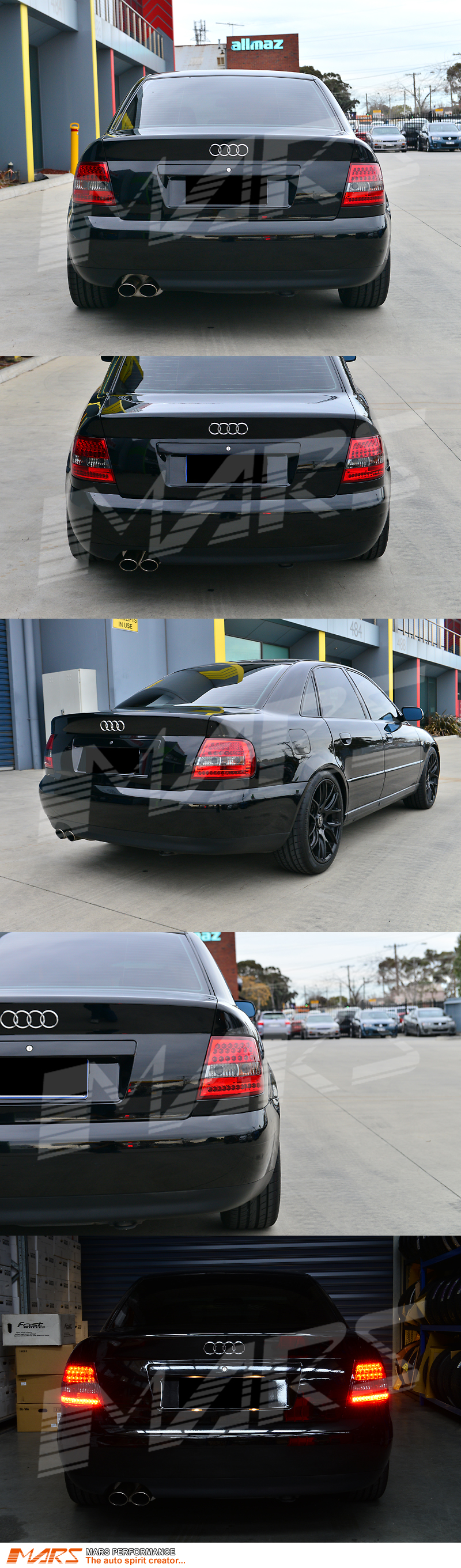 smoked red led taillight tail lights for audi a4 s4 b5 4 doors sedan 95 98 99 01 ebay. Black Bedroom Furniture Sets. Home Design Ideas