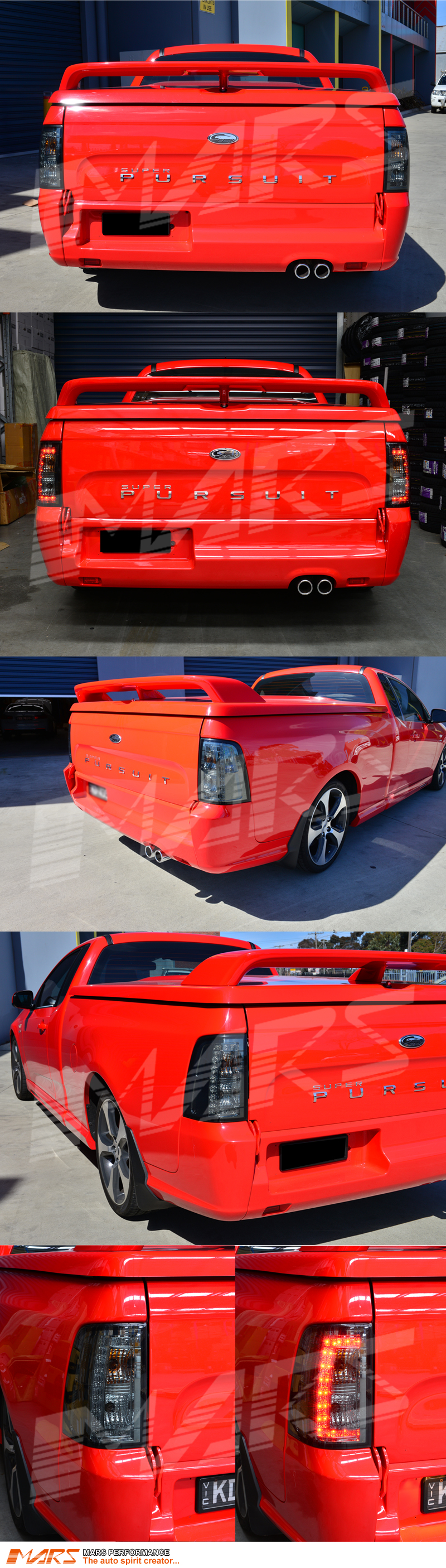 Full Smoked Led Tail Lights For Ford Falcon Fg Ute Xr6 Xr8