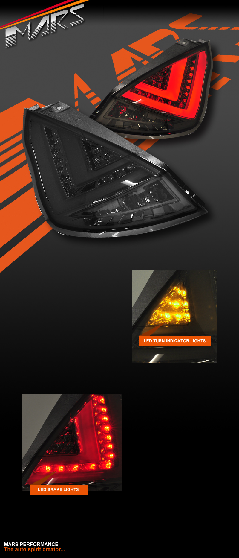 smoked black 3d stripe led tail lights for ford fiesta wt