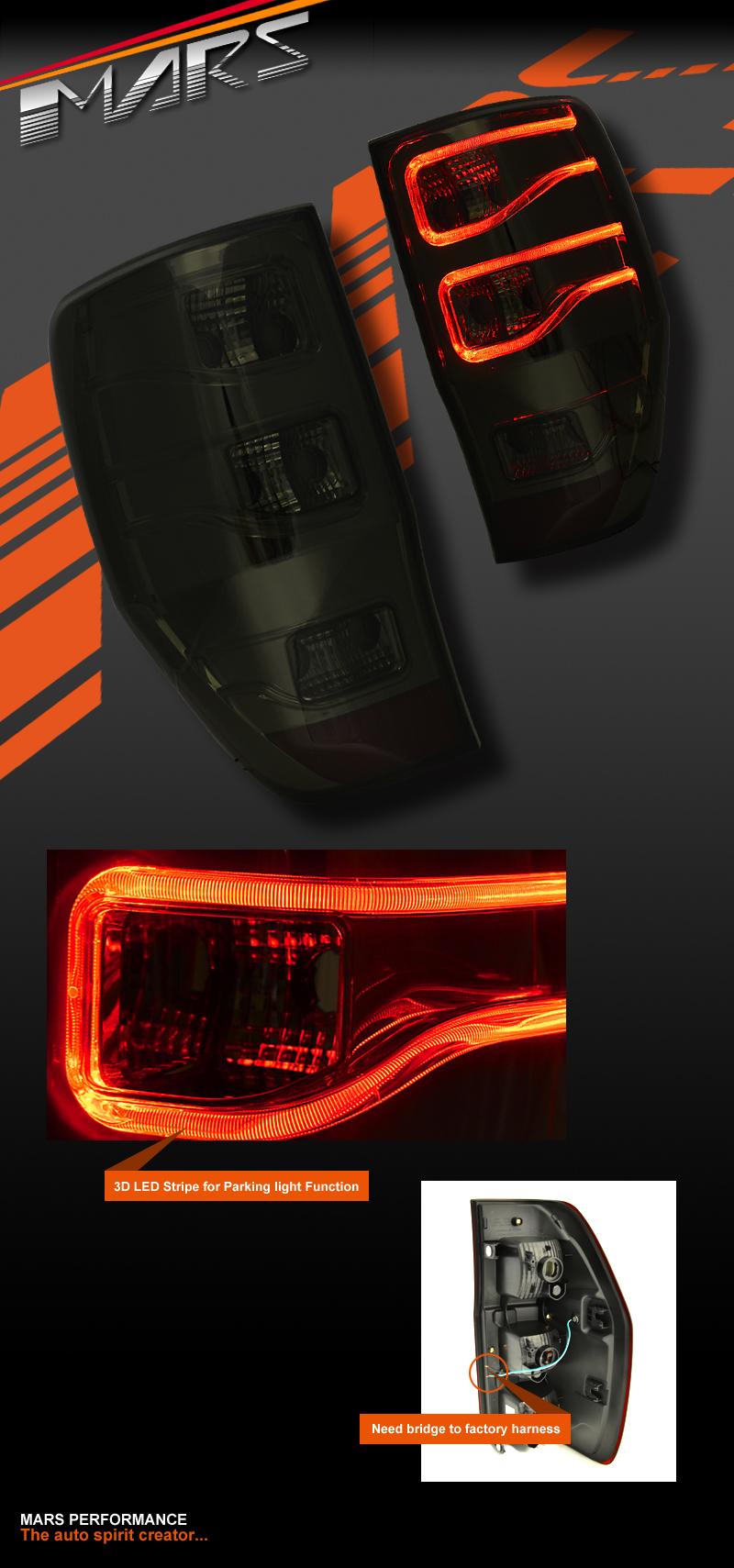Smoked Black 3d Stripe Bar Led Tail Lights For Ford Ranger