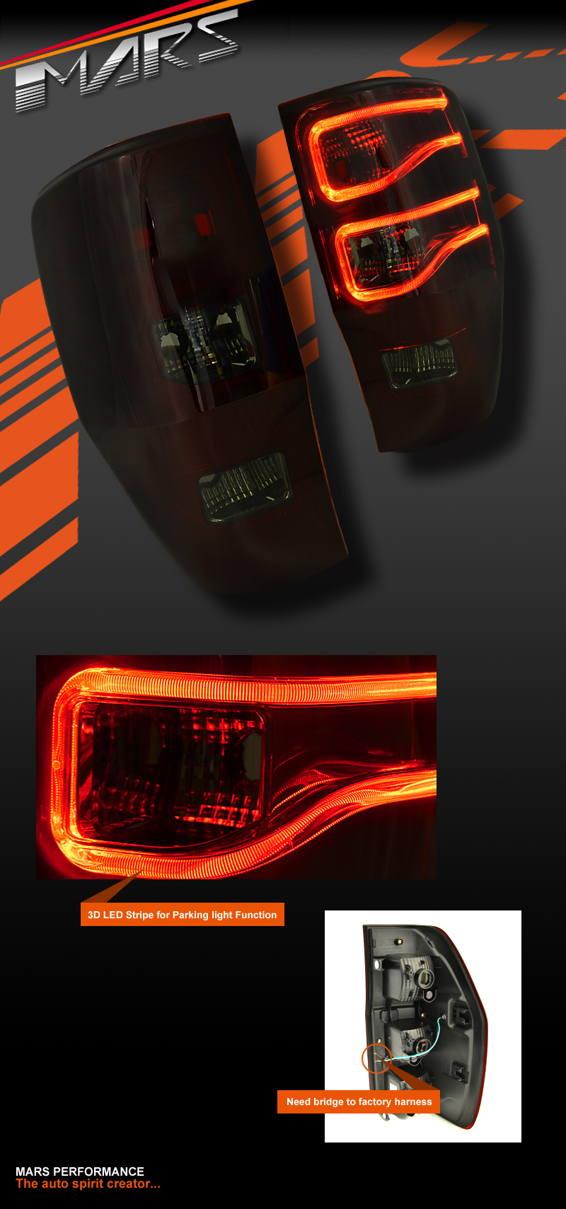 Smoked Red 3d Stripe Bar Led Tail Lights For Ford Ranger