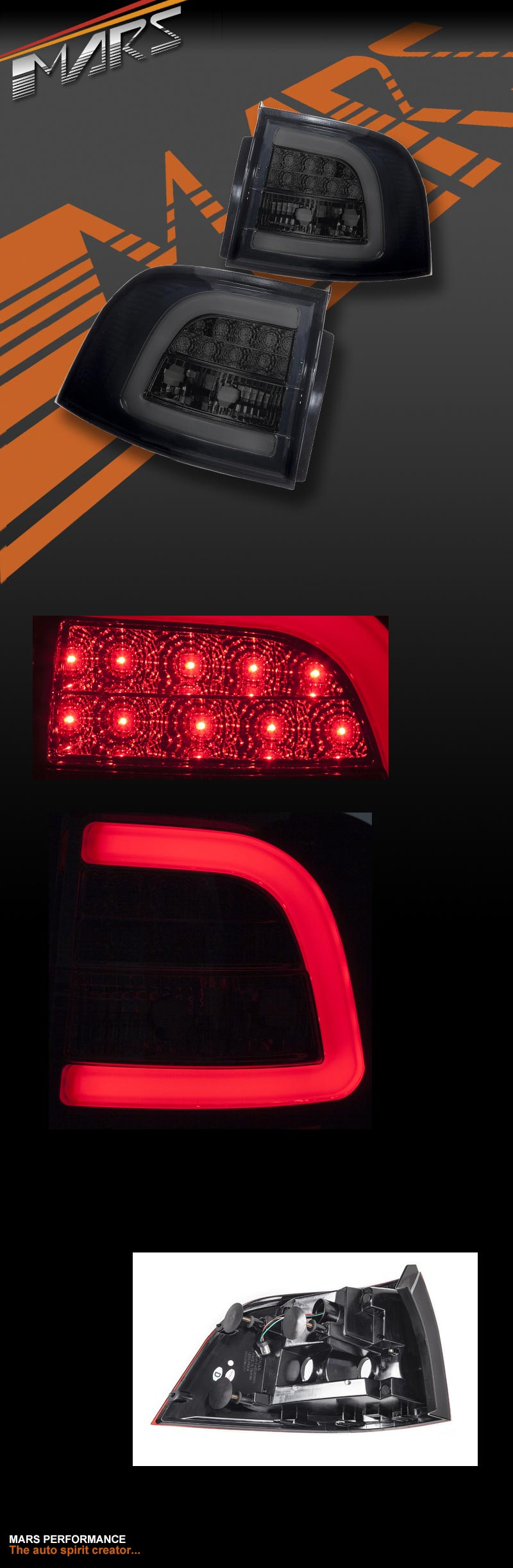 Full Smoked LED Tail lights for Holden Commodore VE & VF 5 doors