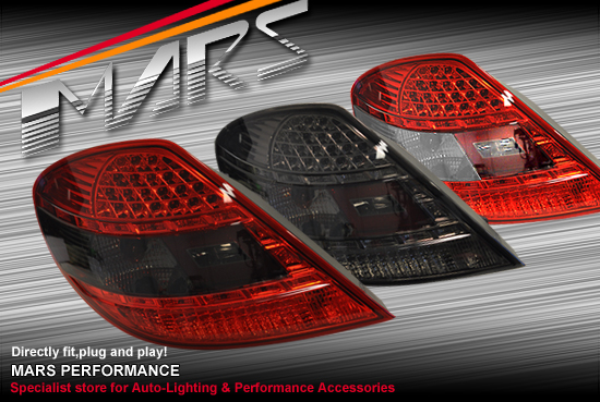 smoked red led tail lights mercedes slk r171 slk200 slk280. Black Bedroom Furniture Sets. Home Design Ideas