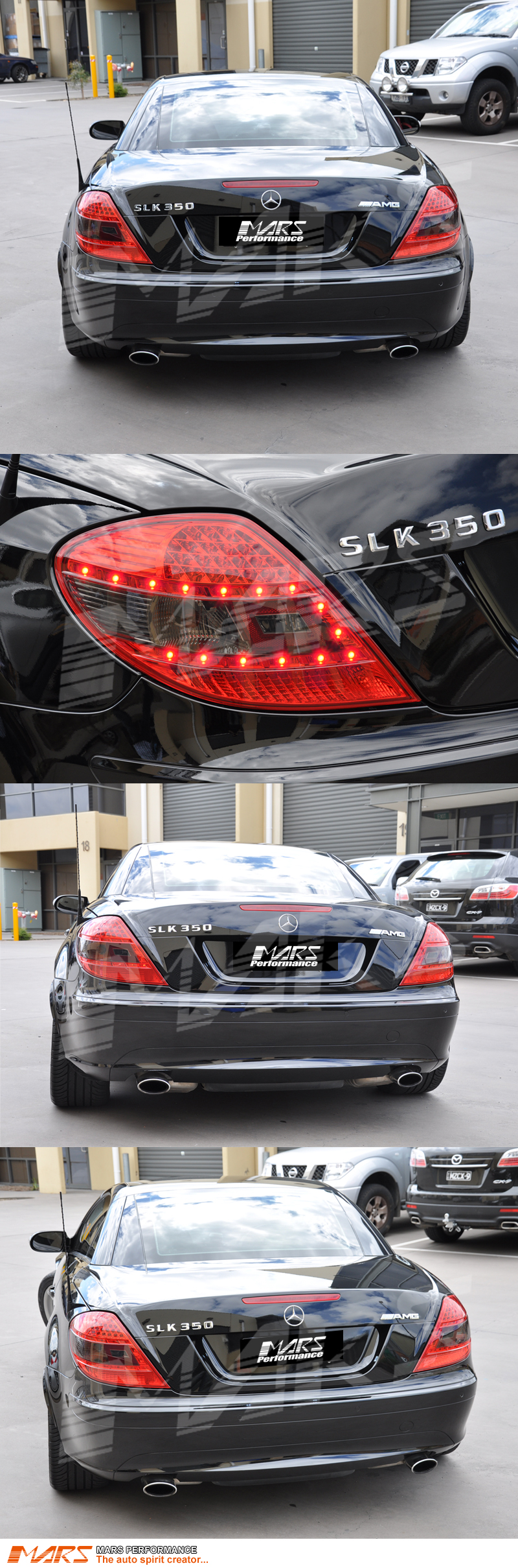 Smoked red led tail lights for mercedes benz slk r171 for Mercedes benz lights