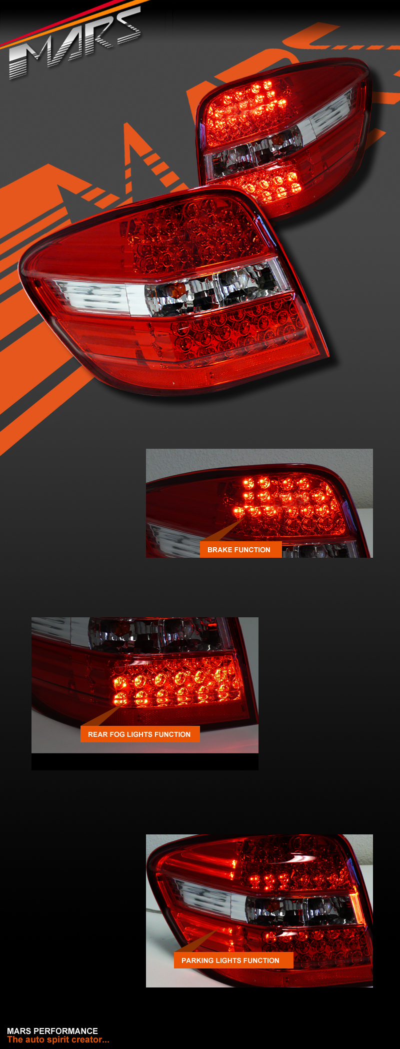 Clear Red Led Tail Lights For Mercedes Benz W164 Ml500