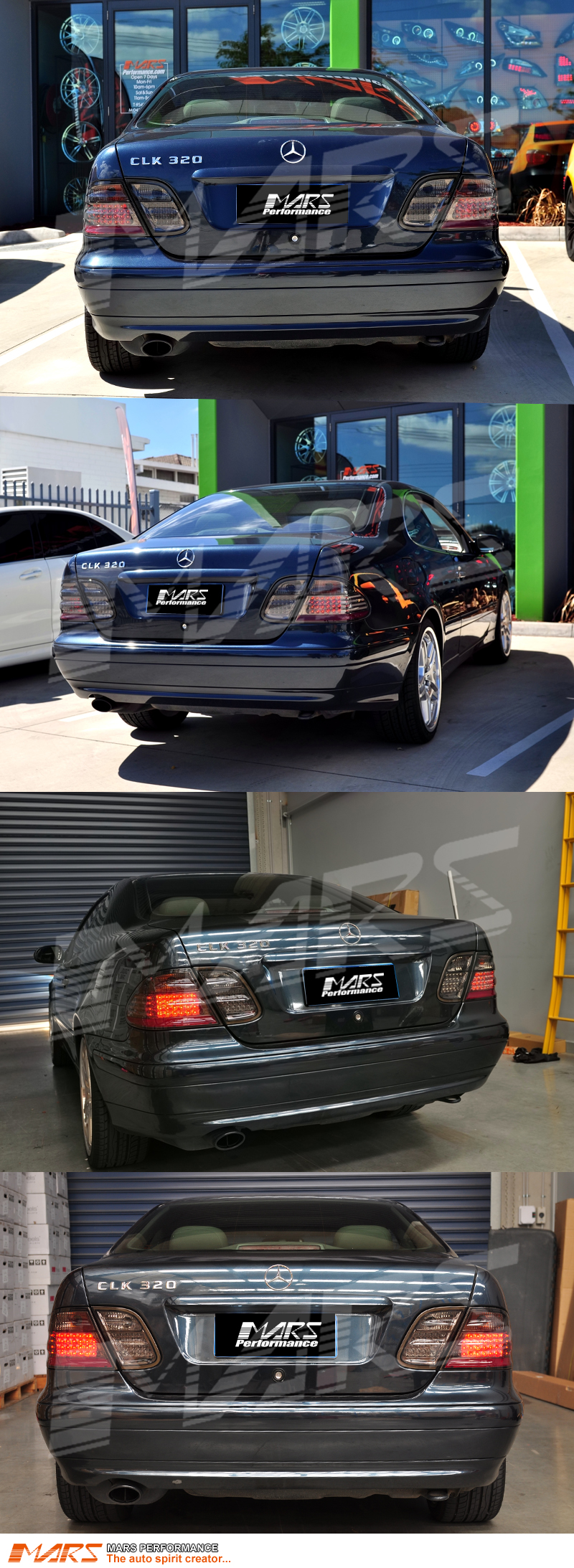 Smoked black led tail lights for mercedes benz clk w208 for Mercedes benz lights