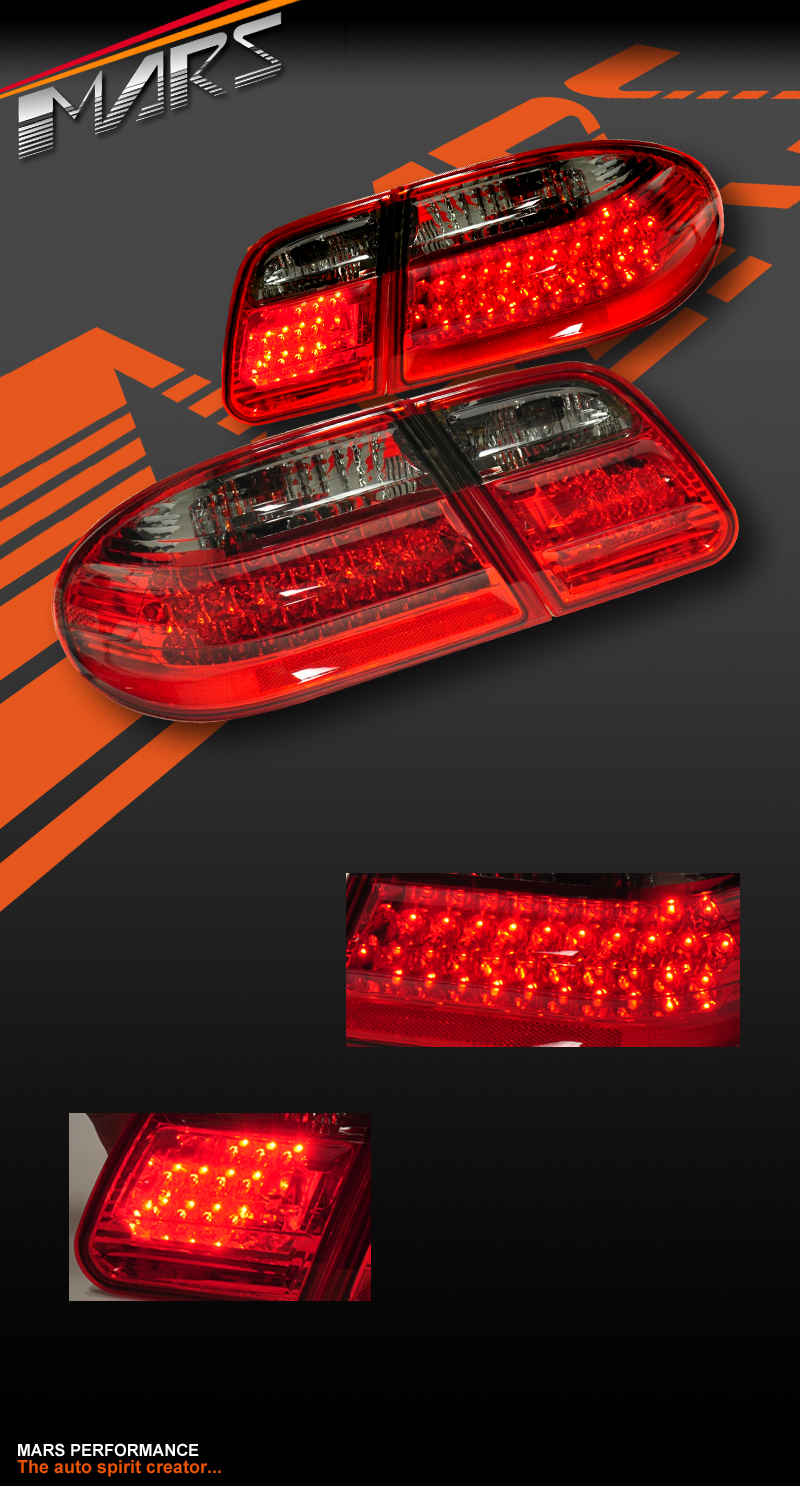Smoked red led tail lights for mercedes benz e class w210 for Led light for mercedes benz