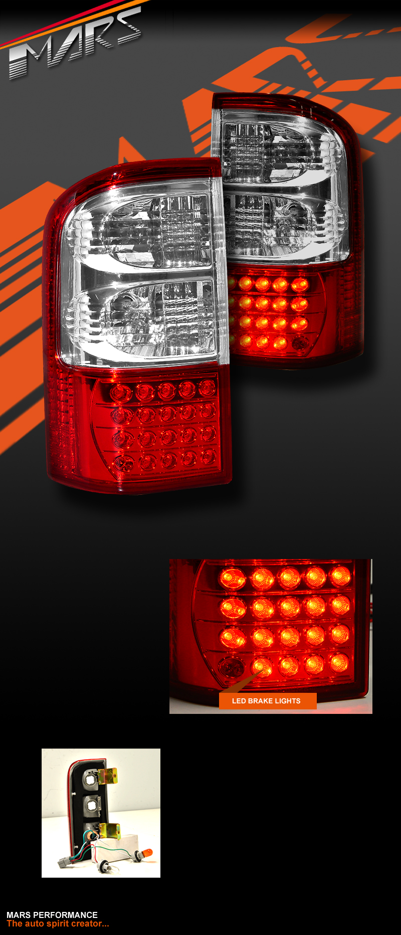 clear red led tail lights for nissan patrol gu 97 04 series 1 2 3 mars performance. Black Bedroom Furniture Sets. Home Design Ideas