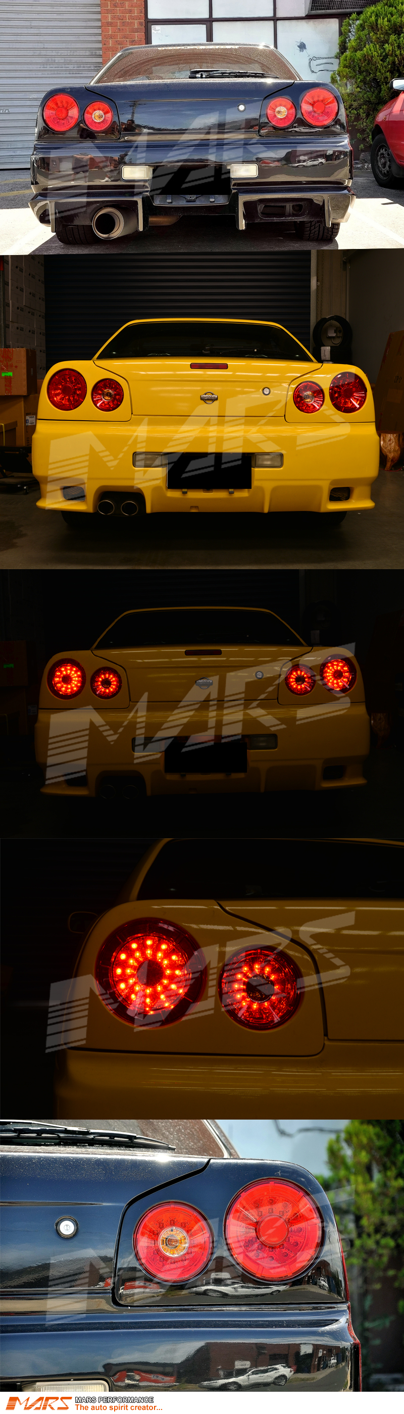 Red Clear Led Tail Lights For Nissan R34 Skyline Coupe Gts