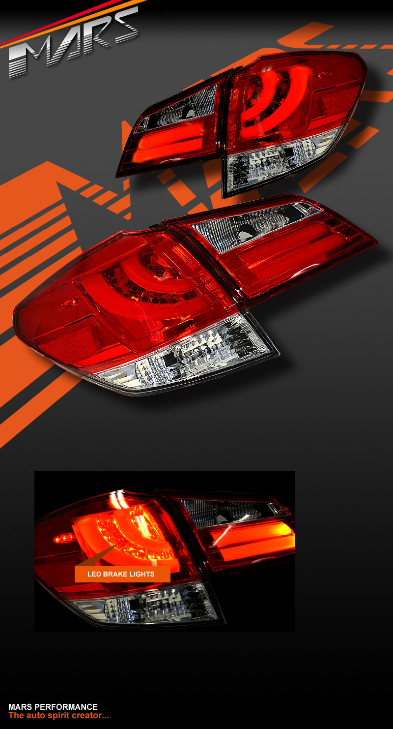 Crystal Eye Clear Red 3d Led Tail Lights For Subaru 5gen