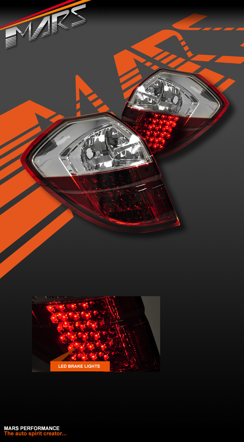 Clear Red LED Tail lights for Subaru 4GEN Liberty Legacy ...